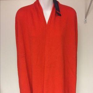 Lands' end orange 100% cashmere's cardigan size l